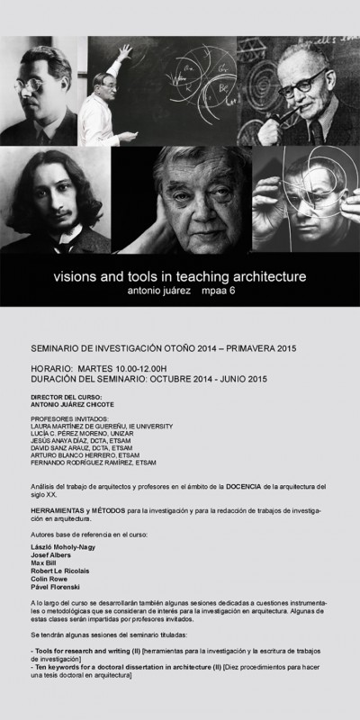 ++++CARTEL SEMINARIO VISIONS AND TOOLS IN TEACHING ARCHITECTURE_ANTONIO JUAREZ_MPAA 6++